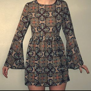 One Clothing Bohemian Long Bell Sleeves Dress